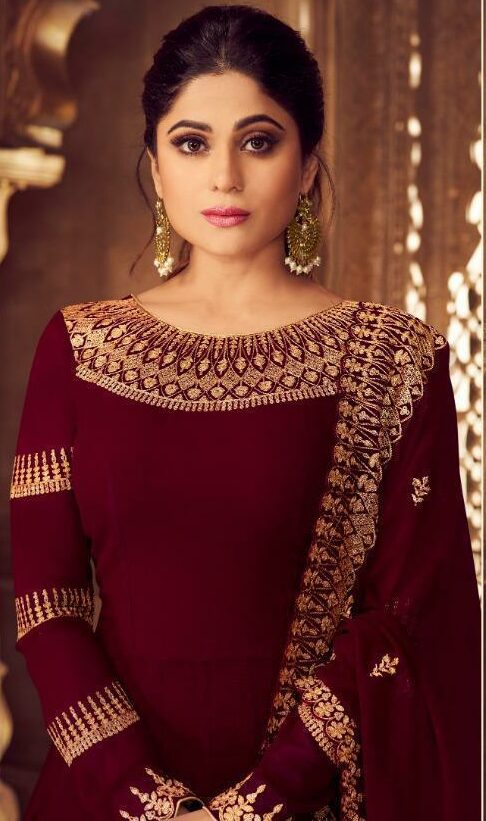 Anarkali Gown Wedding Party Wear Dresses Heavy Gold Border Gown