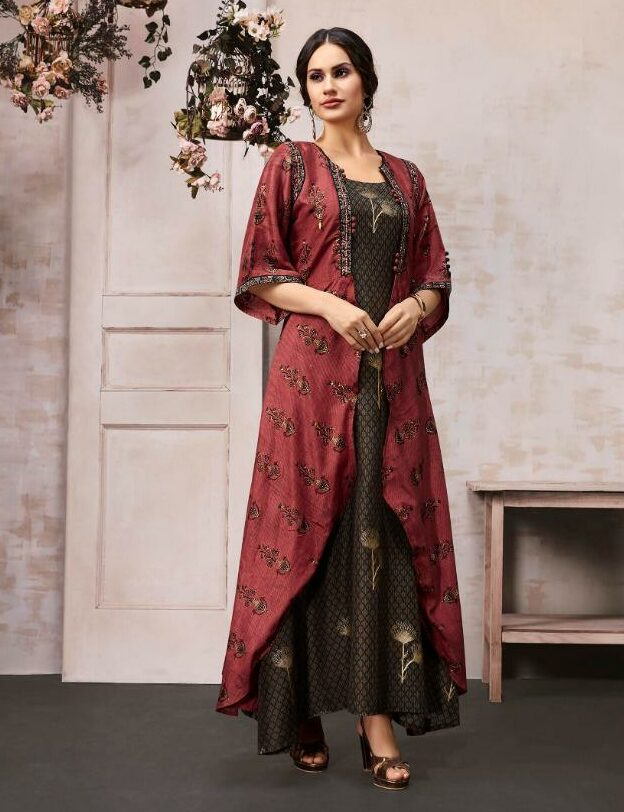 Anaya Coffee Colour Double Layered Gown