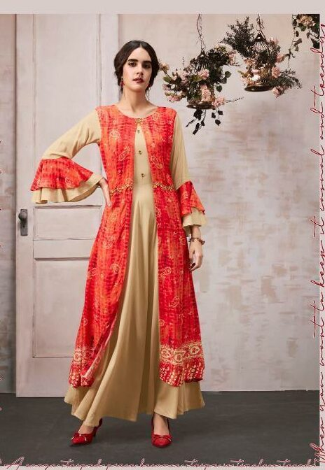 Blanched Almond Colour Long Gown with Long jacket