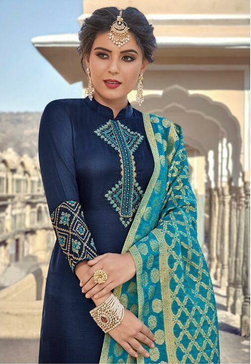 Designer Harleen Panjabi Salwar Suits with Banaarsi Dupatta