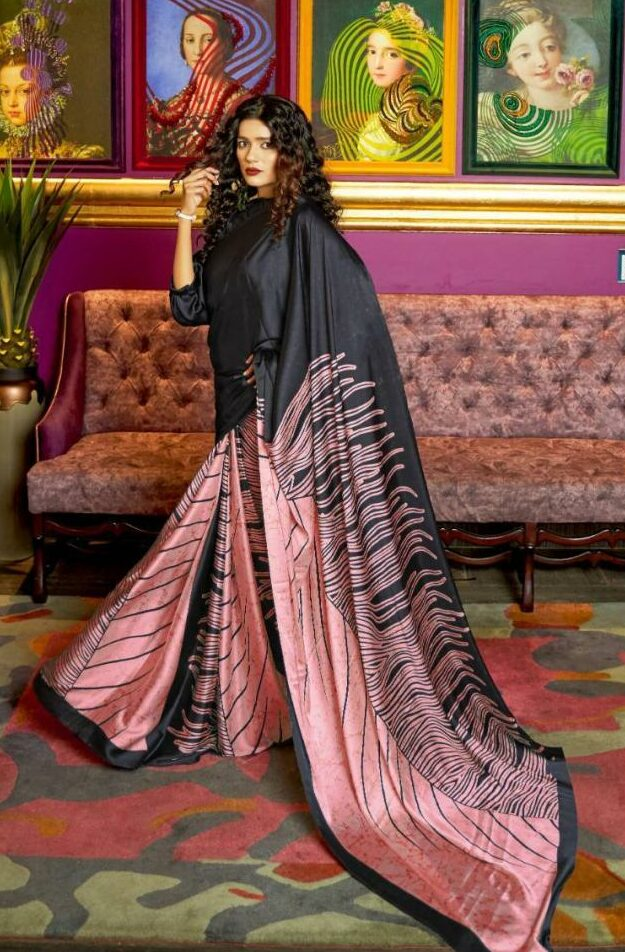 Digital Print Pink with Black Casual Wear Saree