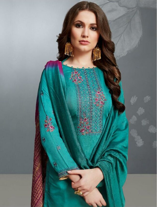 Aqua Colour simple hand embroidery designs for salwar kameez