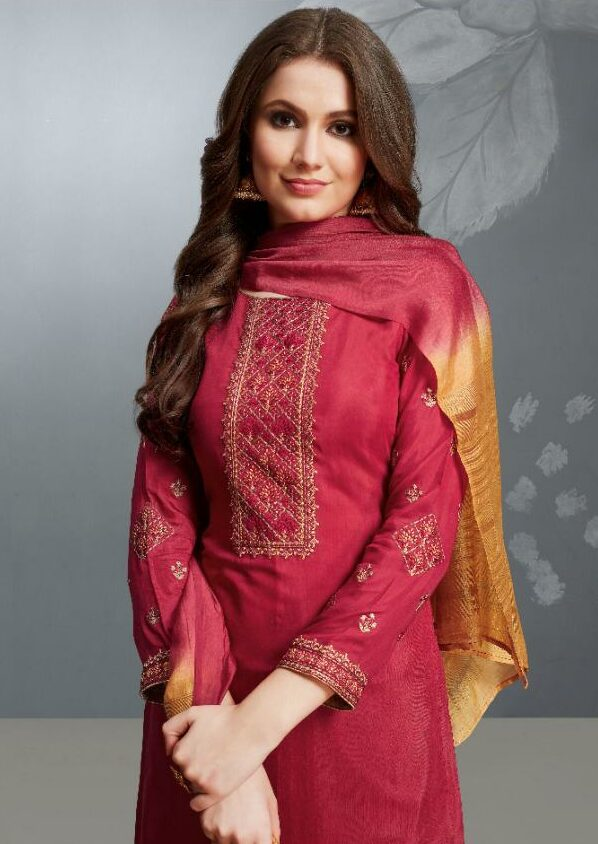 Embroidered Full Sleeves Plain Maroon Salwar Suit