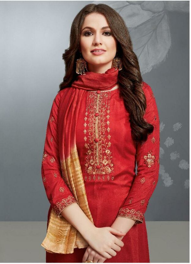 Gold Embroidery Red Suit for Ladies