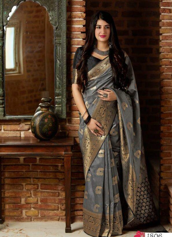 Grey Colour Banarasi Saree with Blouse