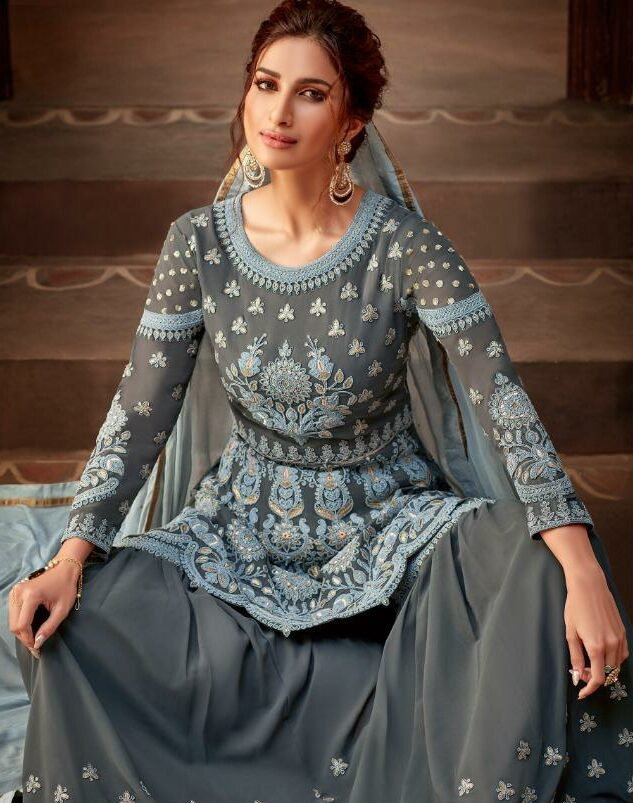 Grey Heavy Royal Embroidered Sharara Suits for Wedding