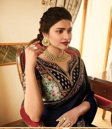 Navy Blue Saree in Prachi Desai New Version