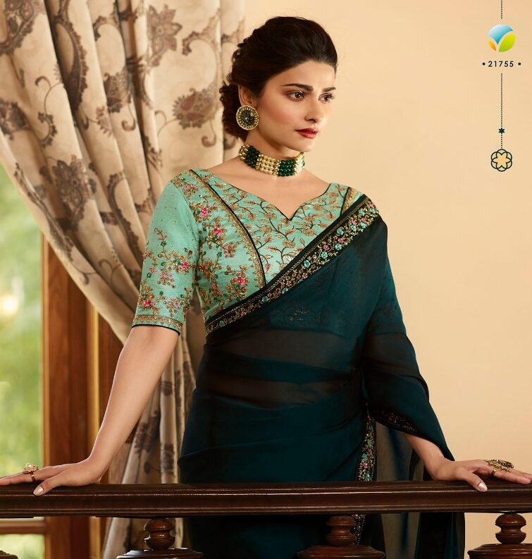 Prachi Desai Style Green Saree Collection with Contrast Designer Blouse