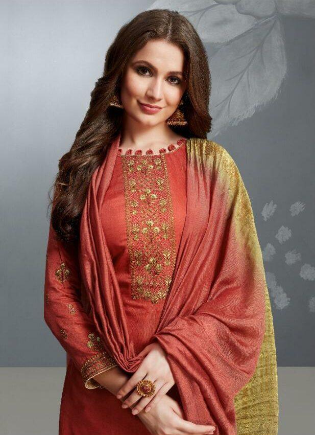 Rust Colour Salwar Kameez Golden Embroidered Double Shade Dupatta