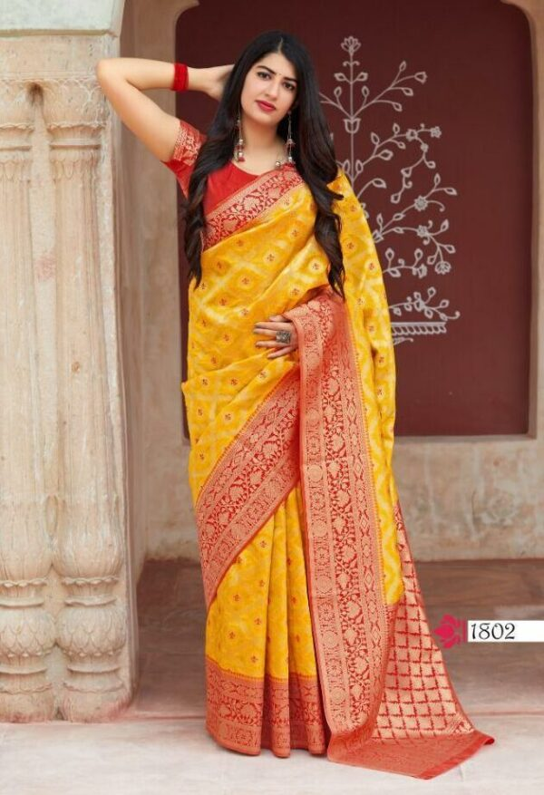 Yellow Colour Banarsi Silk Saree with Price