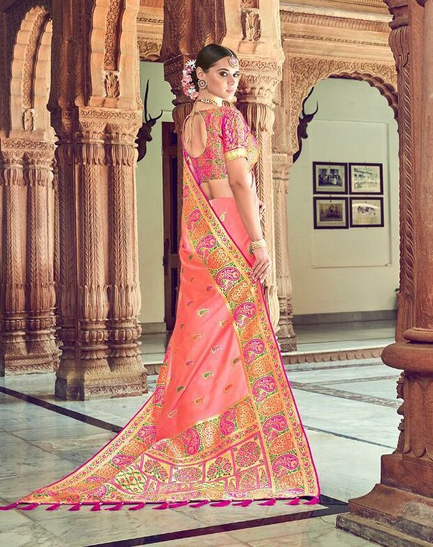 Coral Colour Royal Designer Silk Saree in Printed Golden Border