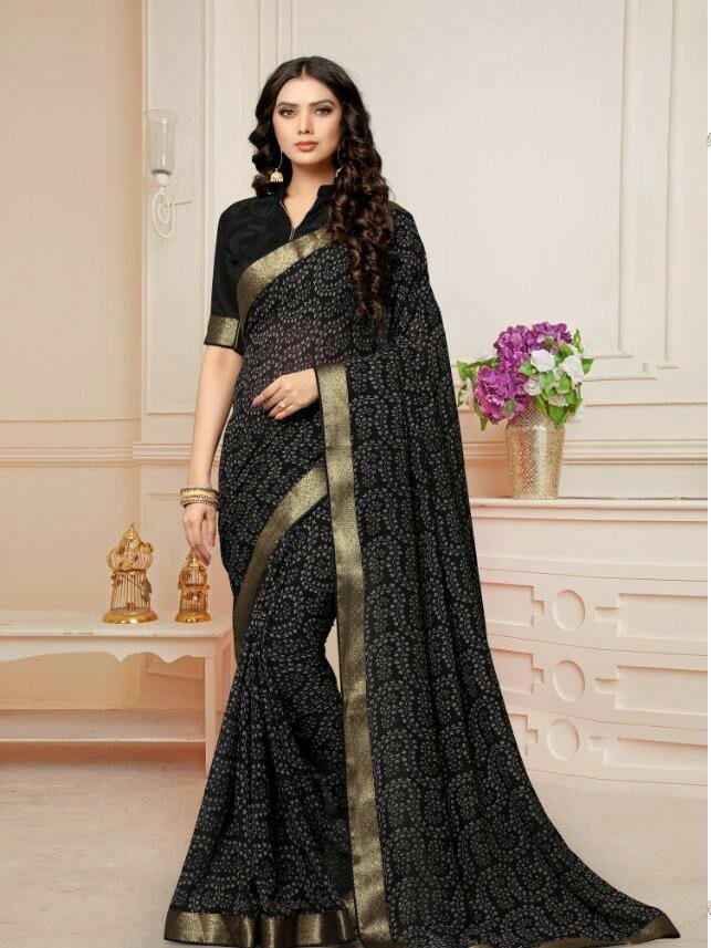 Daily Wear Saree in Black with Golden Border