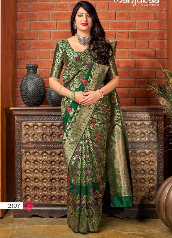 Dark Green Banarasi Saree