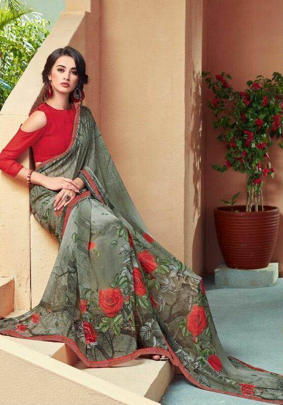 Designer Floral Sarees