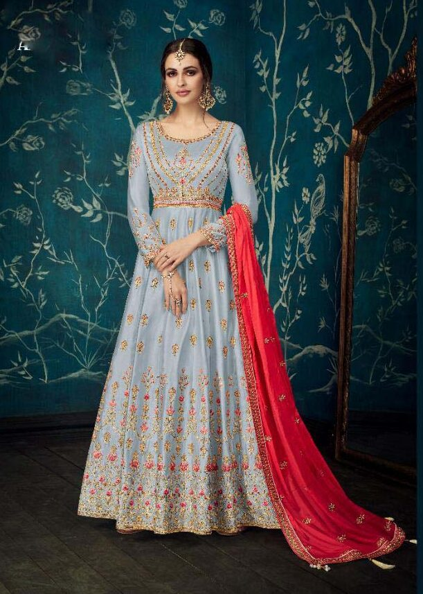 Heavy Embroidery Full Sleeves Silver Colour Wedding Gown