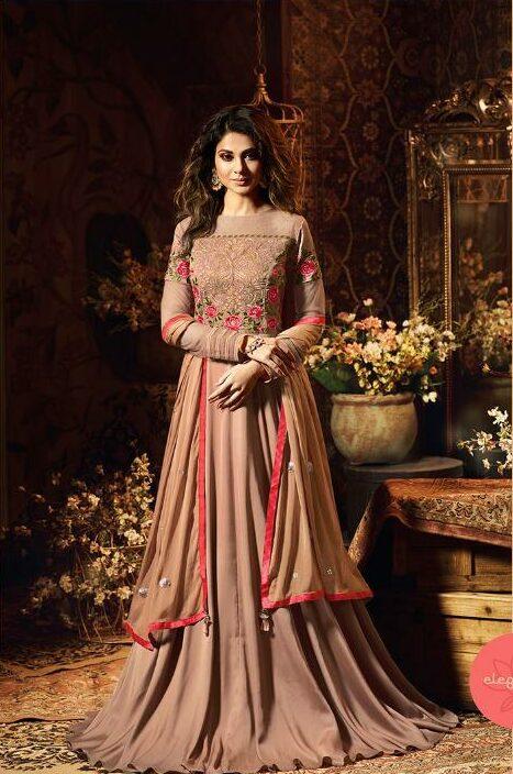 Jennifer Winget Dresses in Copper Colour Gown