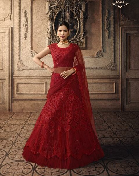 Latest Designer Bridal Lehengas in Blood Red Color