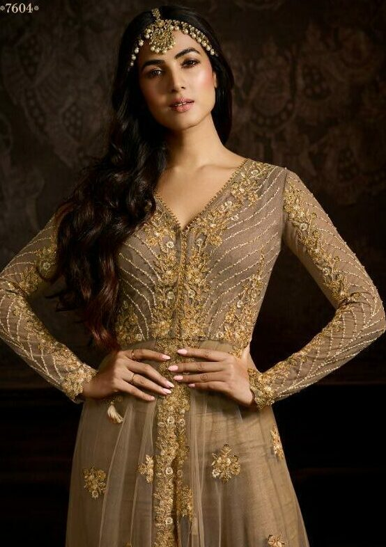 New Fashion Designer Gold Embroidered Full Sleeves Gown