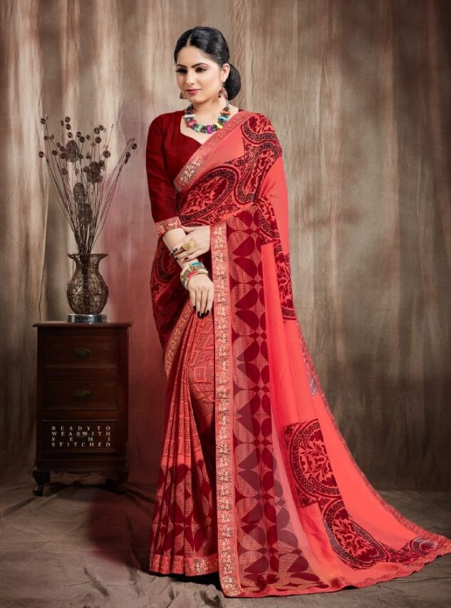 Pure Georgette Saree in Carrot Colour