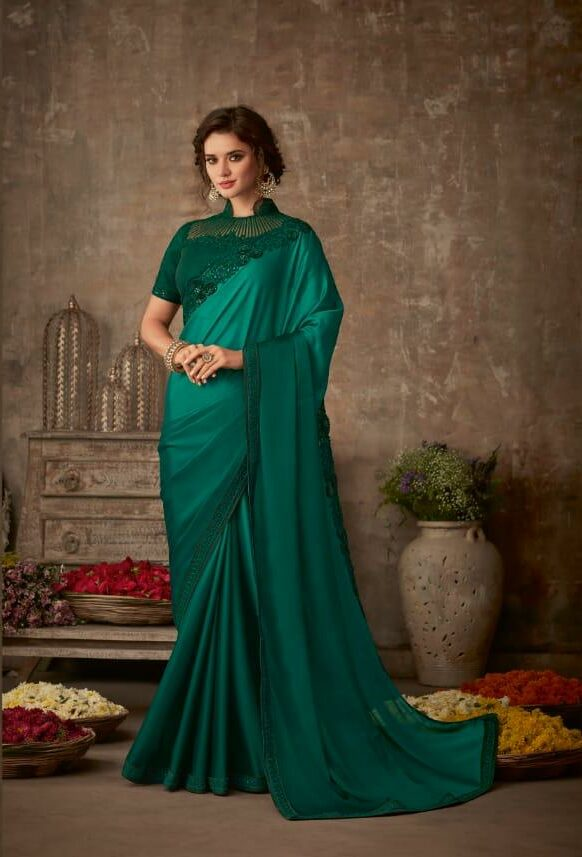 Reception Saree Look in Bottle Green Colour