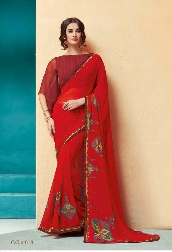 Red Colour Daily Wear Saree Blouse Designs