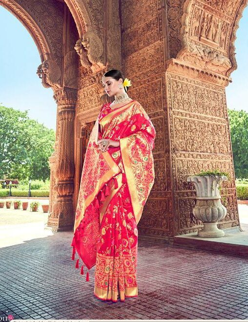 Red Sarees With Golden Border
