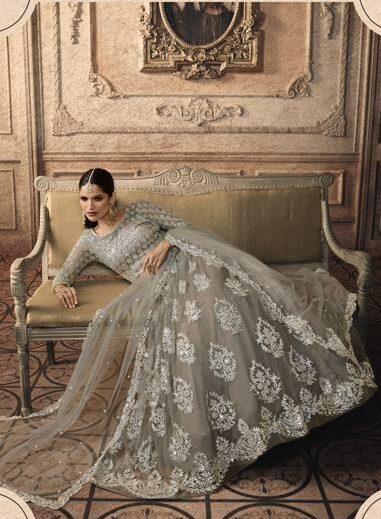 Silver Bridal Lehenga Choili Full Embroidery Work with Net Dupatta