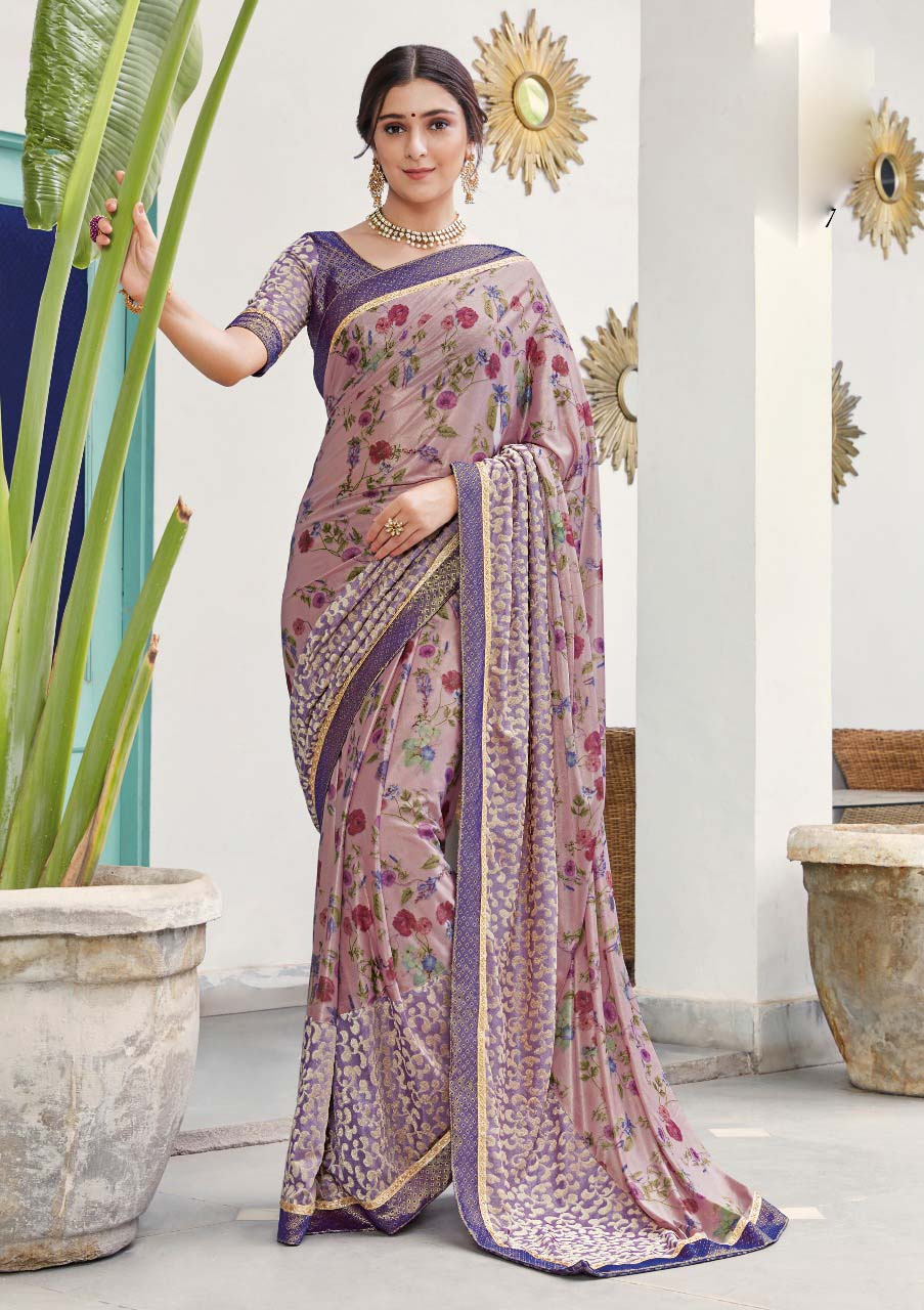 Soft Silk Designer Saree in Purple