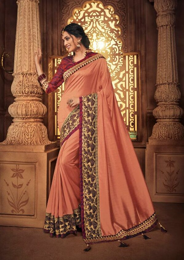 Carrot Color Wedding Sarees