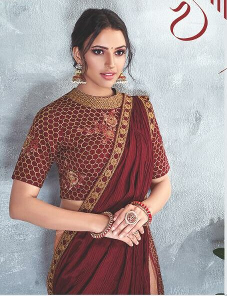 Latest Designer Blouse with Designer Maroon Saree