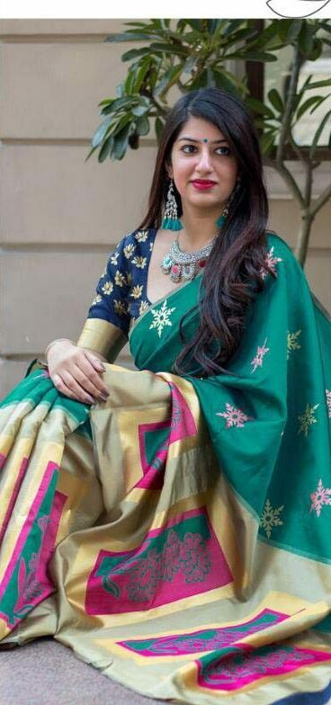 Latest Designer Green silk saree design Digital Print