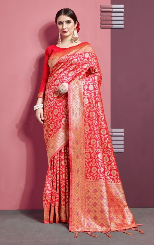 Orange Art Silk Saree