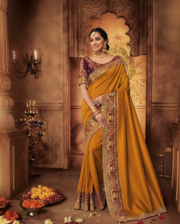 Designer Traditional Party Wear Sarees with Contrast Designer Blouse