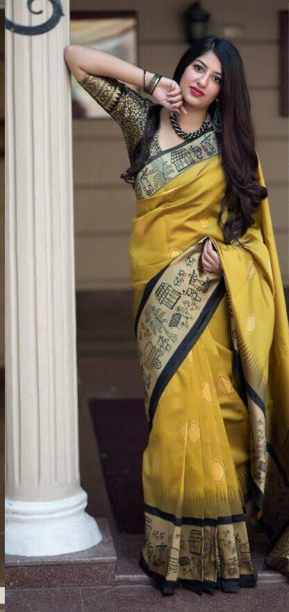 Yellow Silk Saree Plain Contrast Blouse