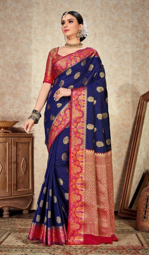 New Designer Blue and Red Silk Saree In Low Price