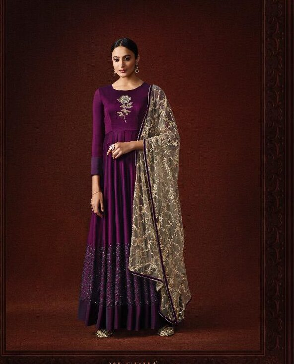 Purple Colour Gown for Party Wear