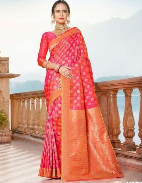 Silk Saree in Rani Colour