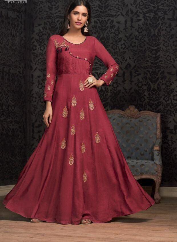 Coral Colour Musslin Cotton Readymade Gown