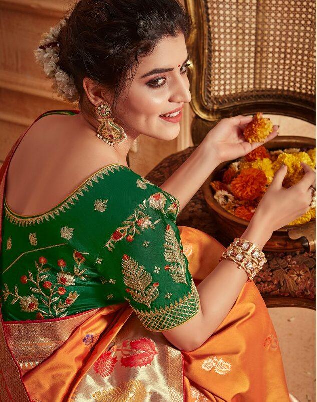 New Trends in Golden Silk Saree