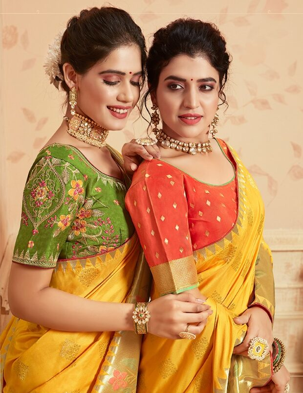 New Trends in Yellow Silk Saree