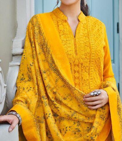 Readymade Lucknavi Kurti Plazo in Yellow Colour