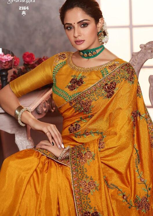 Yellow Saree for Wedding Party Wear