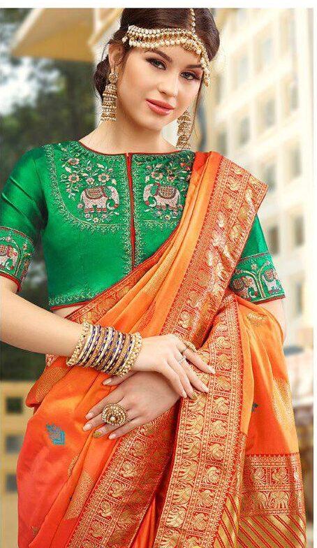 Essence of Royal Designer Green Blouse with Orange Silk Saree