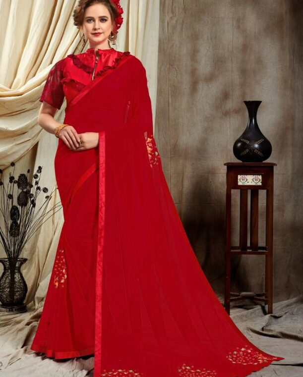 Red Fancy Saree for Wedding