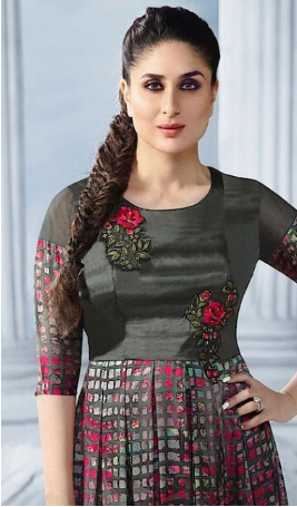 Best embroidered grey color georgette gown with a price
