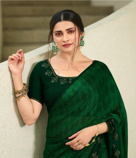 Dark Green Saree in Sequins Style