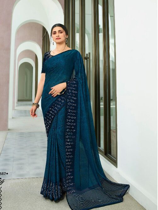 Diamond Steelblue Sequins Saree