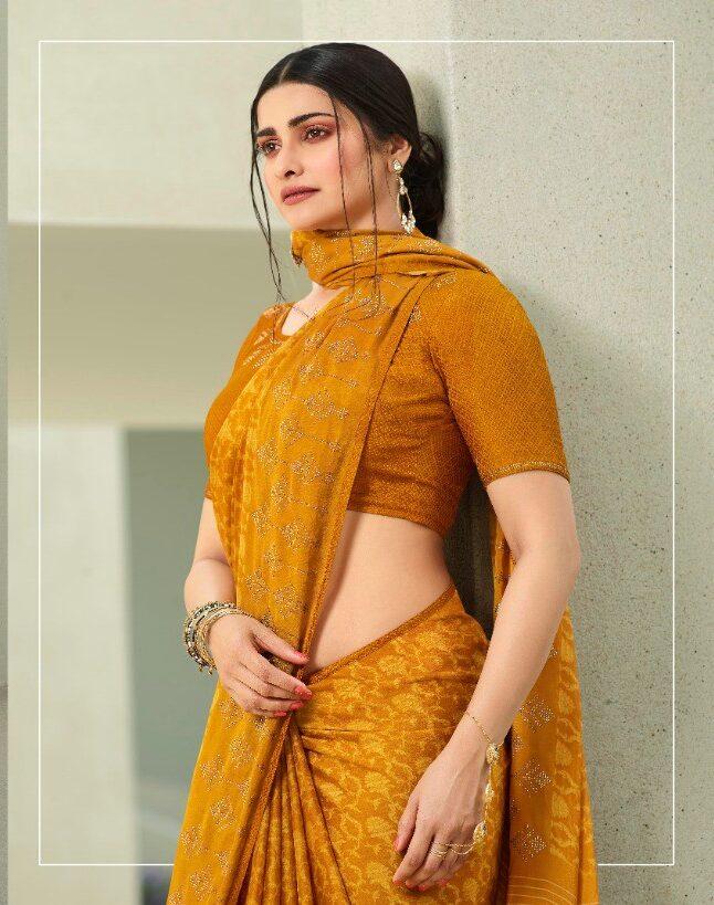 Floral Print Satin Silk Yellow Saree