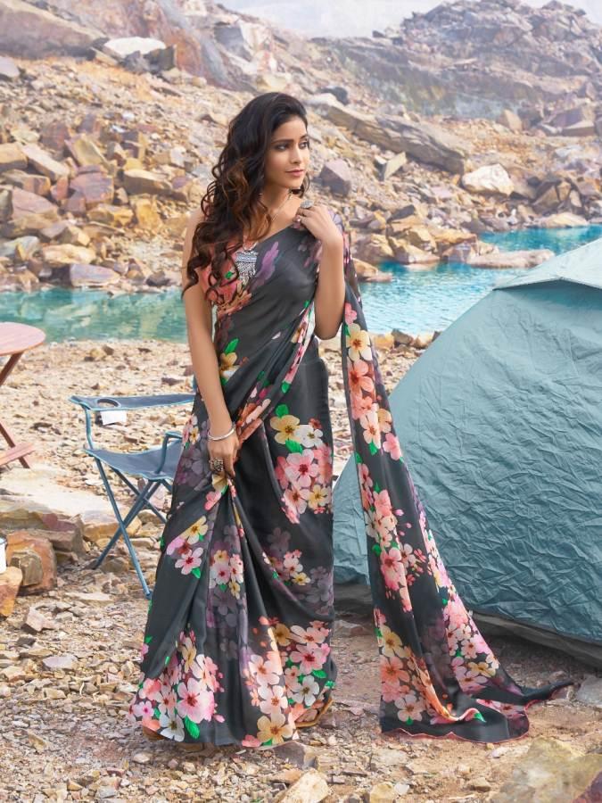 Floral Print Soft Satin Saree