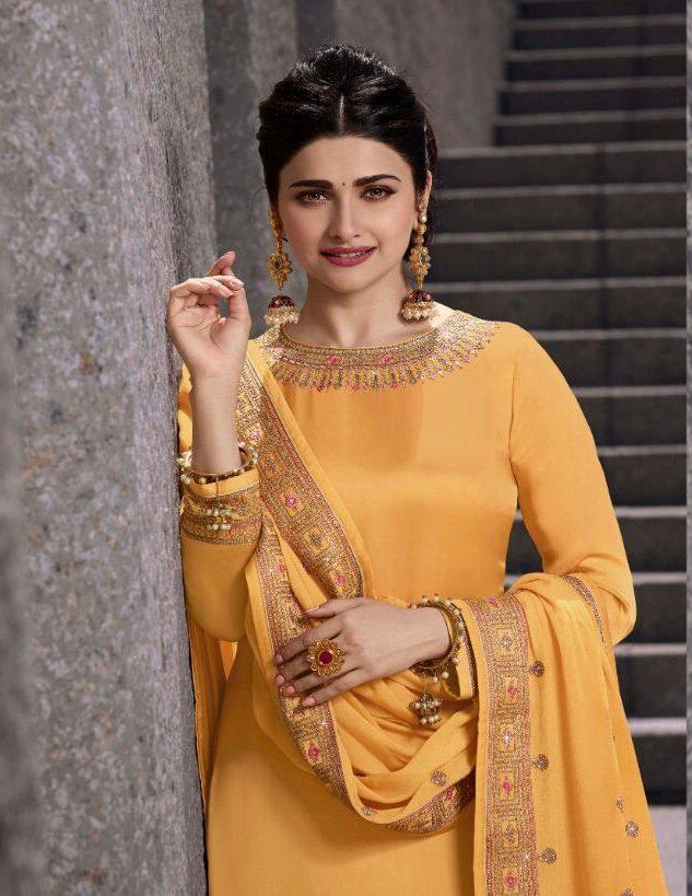 Prache Desai Style Gold Color Salwar Kameez